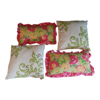 Lilly Pulitzer Ruffled & Green Crewel Pillows - Set of 4