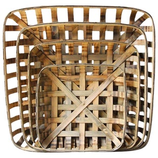 Set of Four Wooden Tobacco Weave Square Baskets