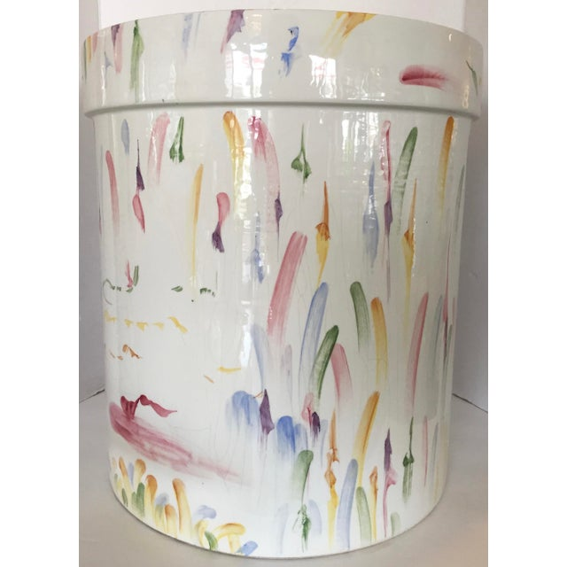 Italian Hand Painted Ceramic Stool - Image 4 of 7