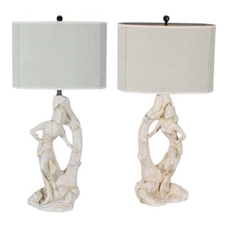 Beautiful Pair of Cream Plaster Lamps by Continental Art Company