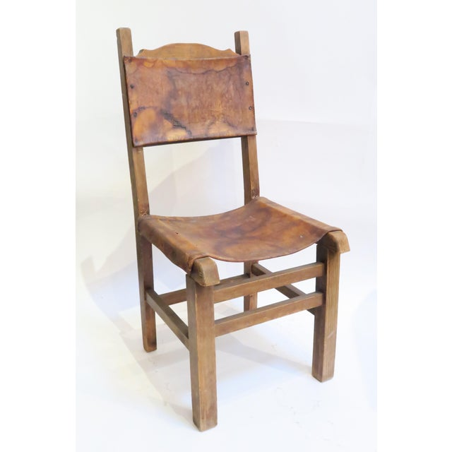 Rustic Wood & Leather Mission Style Chair - Image 3 of 6