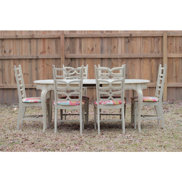Image of 1966 Trogdon Furniture Chalk Painted Dining Set