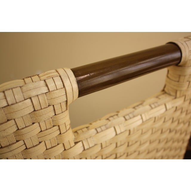 McGuire Thomas Pheasant Woven Leather Bar Stool - Image 6 of 7