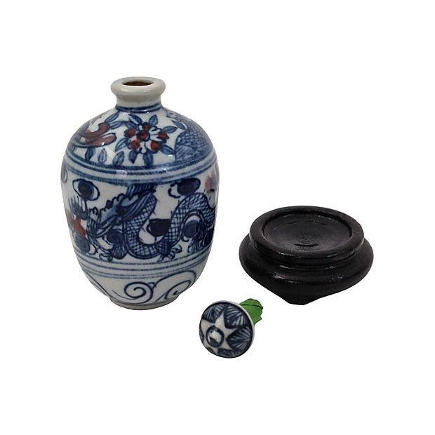 Image of Antique 19th C. Kangxi Bottle & Stand