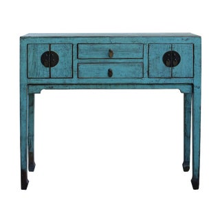 Chinese Distressed Gray Blue Narrow Slim Foyer Side Table