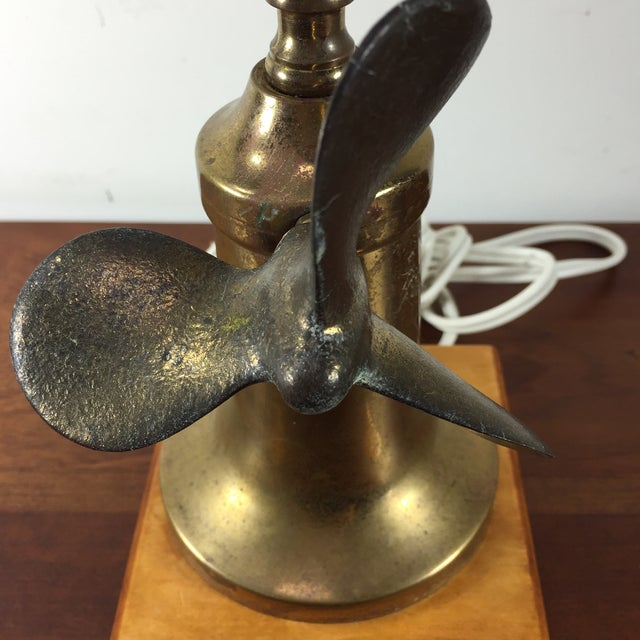 Vintage Nautical Brass Propeller Table Lamp - Image 4 of 8