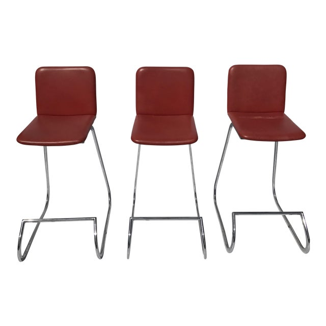 Image of Stendig Metal & Faux Leather Bar Stools- Set of 3