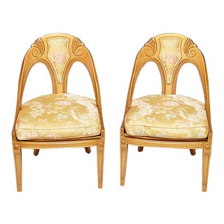 Gilt Horseshoe Framed Side Chairs- A Pair