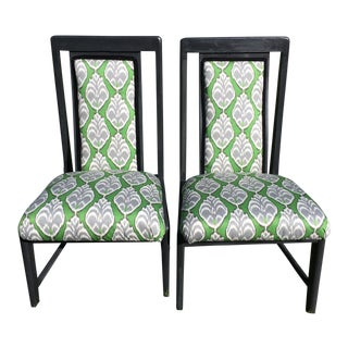 Transitional Graphic Green Printed Chairs - A Pair