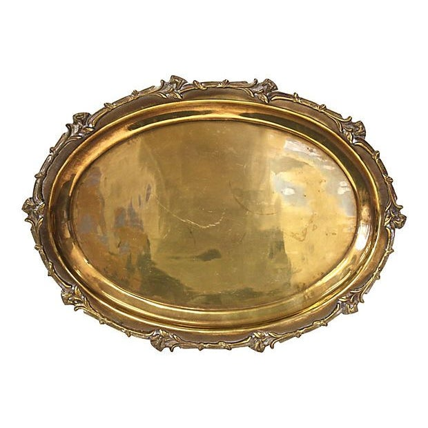 Brass Tray with Floral Rim - Image 2 of 5