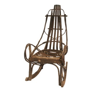 Vintage Adirondack Handmade Wood Rocking Chair