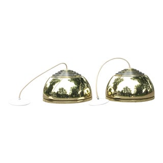 Lightolier Gold Pendant Lamps - A Pair