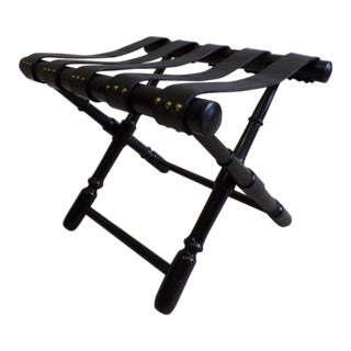 Pair of French 1940s Ebonized and Leather Benches or Luggage Racks