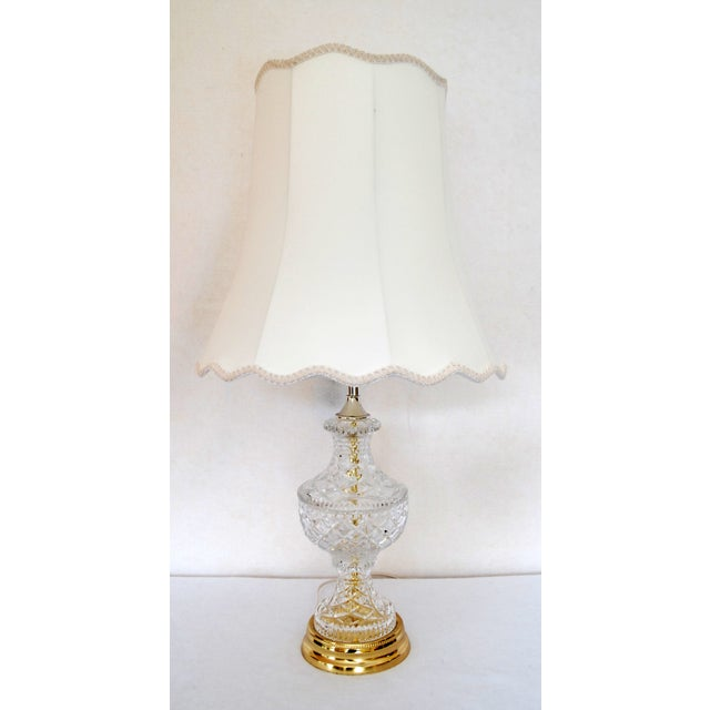 Vintage Cut Glass & Brass Table Lamp and Shade - Image 2 of 7