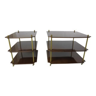 """Pair"" of Italian Tiered Walnut Side Tables"