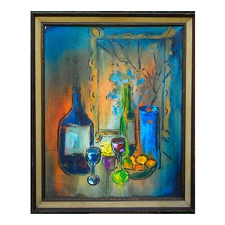 Mid-Century Abstract Still Life Oil on Board