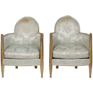 1930s Vintage Paul Follot French Art Deco Club Chairs - a Pair