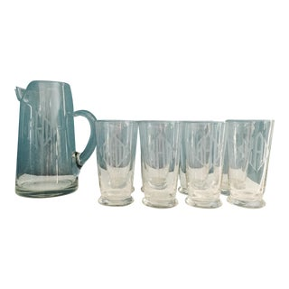 Vintage Etched Barware Glasses & Pitcher - Set of 9