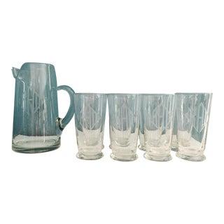 Vintage Etched Barware Glasses & Pitcher - Set of 9