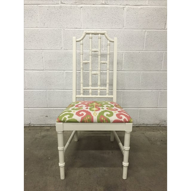 White Bamboo Chair W/ Duralee Pink & Green Seat - Image 2 of 8