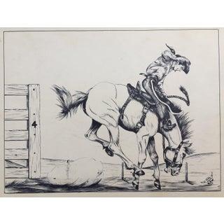 Bucking Bronco Western Art Original Pen & Ink Drawing, 1961