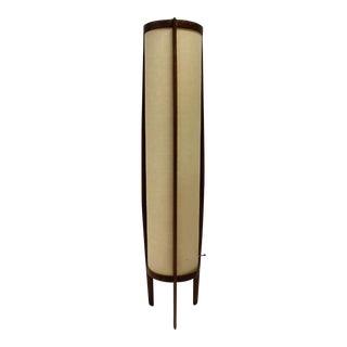 Mid Century Teak Cylindrical Floor Lamp