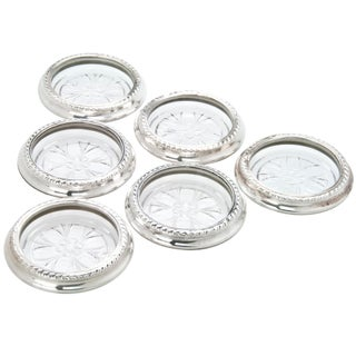 Vintage Sterling Silver And Glass Coasters- Set of 6