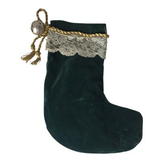 Vintage Velvet Christmas Stocking with Antique Lace