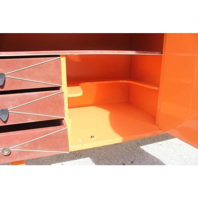 French art deco orange lacquered sideboard or buffet chairish - Deco room oranje ...