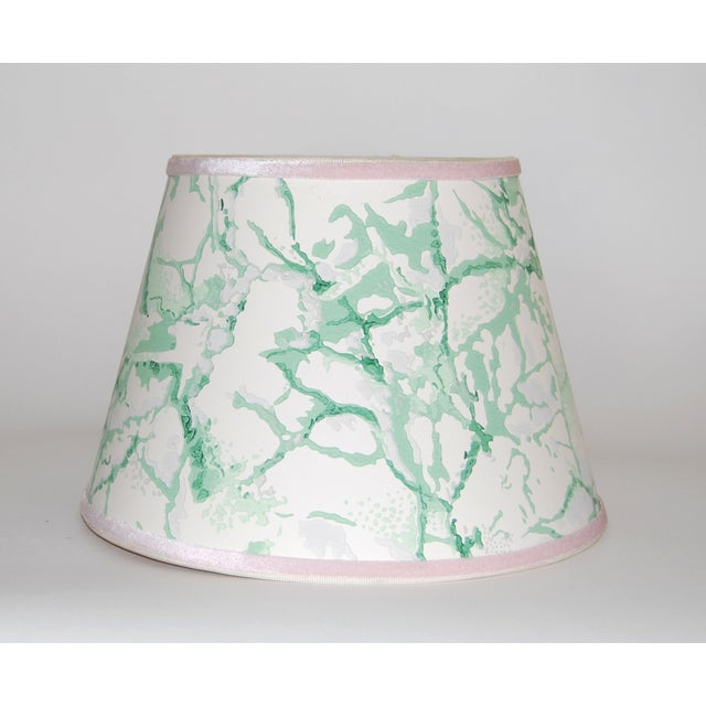 Image of Green & White Marble Vintage Wallpaper Lampshade