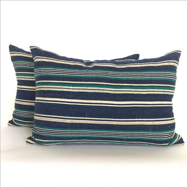 Vintage Indigo Stripe Pillows - Pair - Image 2 of 4