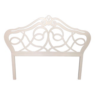 Vintage Shabby Chic Cream Iron Headboard