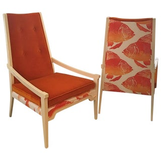 Pair of Orange Velvet Arm Lounge Chairs in the Manner of T.H. Robsjohn-Gibbings