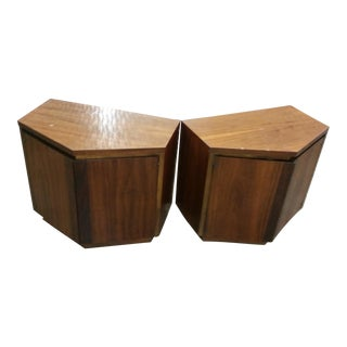 Mid-Century Modern Nightstands With Storage - A Pair