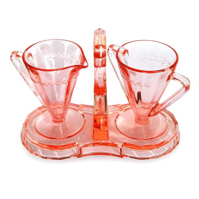 Image of Depression Era Pink Glass Cream and Sugar Set