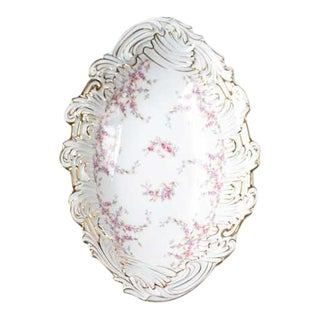 Floral and Gold Oval Side Bowl