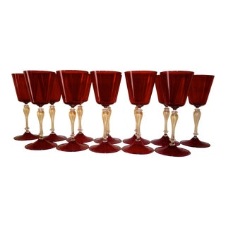 Italian Venetian Handblown Murano Glass Goblets- Set of 12