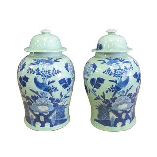 Chinese Blue Porcelain Temple Jars - A Pair