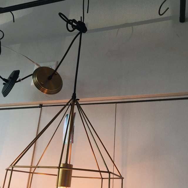 Gold Geometric Cage Pendant Light - Image 3 of 5