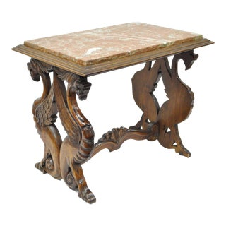 Antique Carved Walnut Figural Winged Griffin Marble Top Table