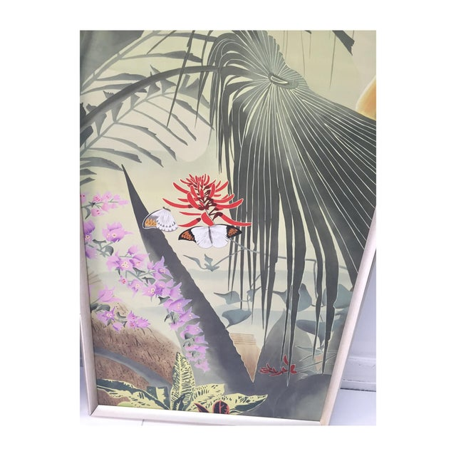 Vintage Hand Painted Silk Panels - A Pair - Image 6 of 6