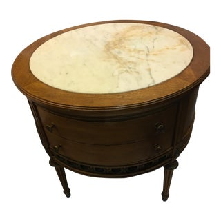 Marble Top Round End Table & Drawers