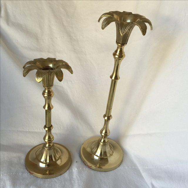 Image of Brass Palm Tree Candle Holders - Pair