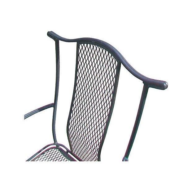 Black wrought iron arm chair chairish
