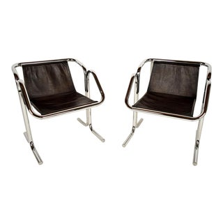 Pair of Arcadia Leather Lounge Chairs by Jerry Johnson