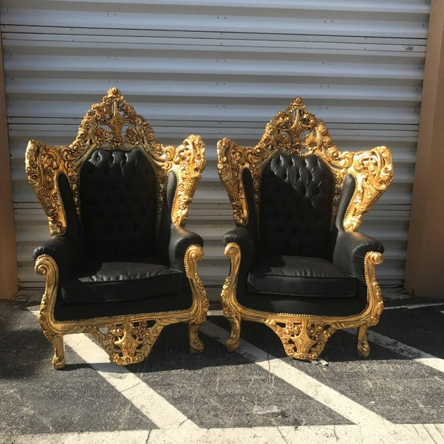 Italian Rococo Chairs in Black Leather -A Pair - Image 2 of 5