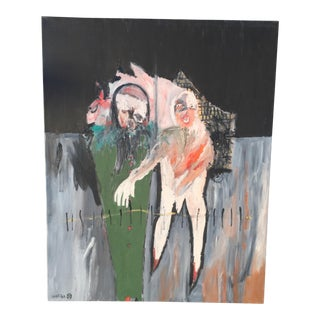 Original Modern Expressionist Oil Painting - Edgewalk by Michael Hafftka