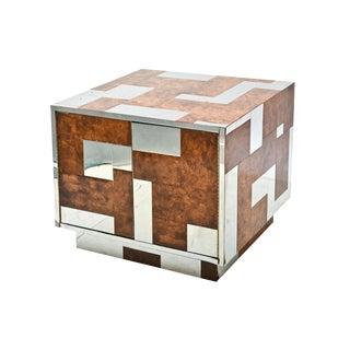 American Modern Burl Walnut and Chrome Two-Door Cabinet, Paul Evans