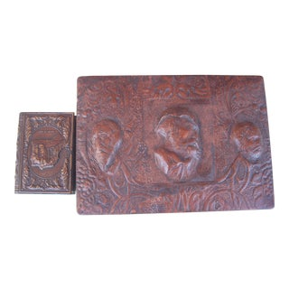 Vintage Embossed Leather Smoker's Box & Matchbox - A Pair