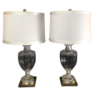 Glass & Brass Urn Table Lamps - A Pair